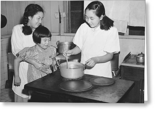 Hirohito's Daughters Cooking Greeting Card by Underwood Archives