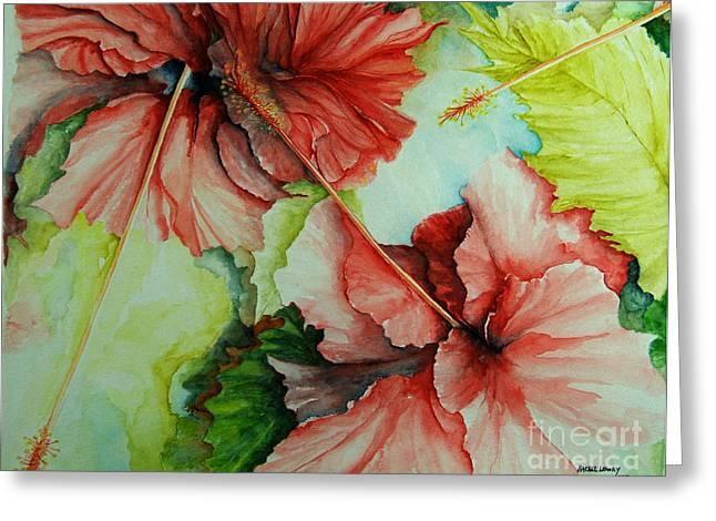 Hiroko's Hibiscus Greeting Card by Rachel Lowry