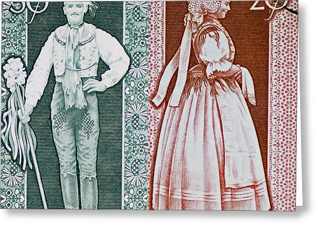 His And Hers Traditional Costumes Greeting Card by Andy Prendy