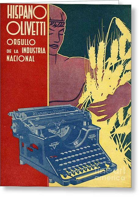 Hispano Olivetti 1936 1930s Spain Cc Greeting Card by The Advertising Archives