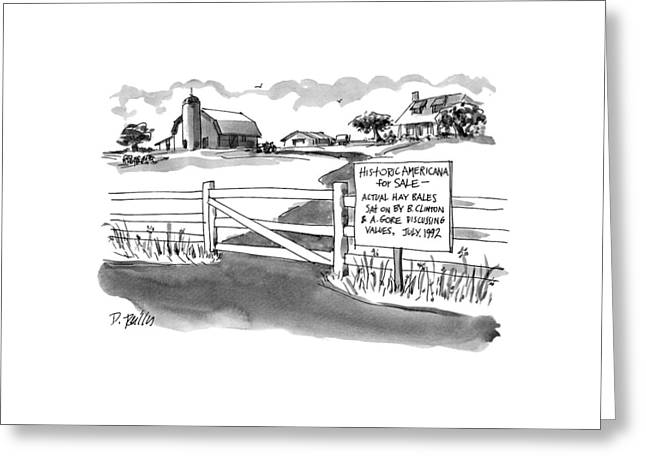Historic Americana For Sale - Actual Hay Bales Greeting Card by Donald Reilly