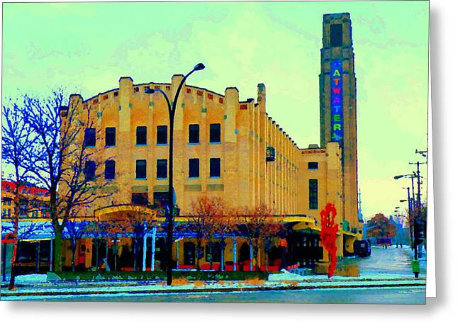 Historic Atwater Market In St Henri Montreal Landmark Near Lachine Canal City Scenes Carole Spandau Greeting Card by Carole Spandau