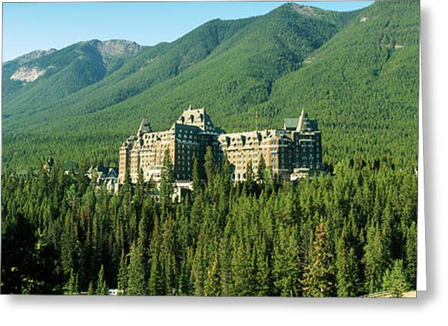 Historic Banff Springs Hotel In Banff Greeting Card by Panoramic Images
