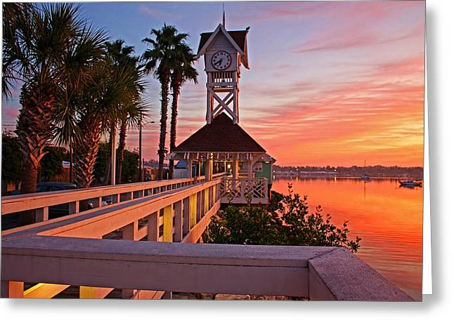 Historic Bridge Street Pier Sunrise Greeting Card by HH Photography of Florida