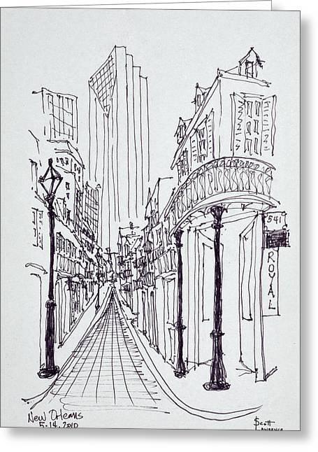 Historic Buildings Along Canal Street Greeting Card