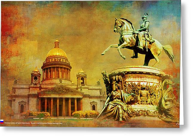 Historic Center Of Saint Petersburg Greeting Card by Catf