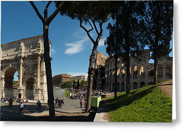 Historic Coliseum And Arch Greeting Card by Panoramic Images