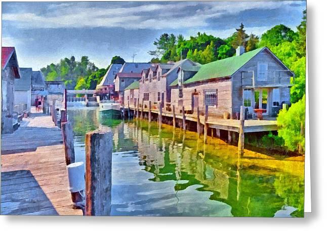 Historic Fishtown In Leland Michigan Greeting Card