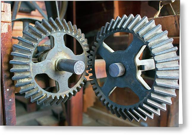 Historic Flour Mill Cogs Greeting Card by Jim West