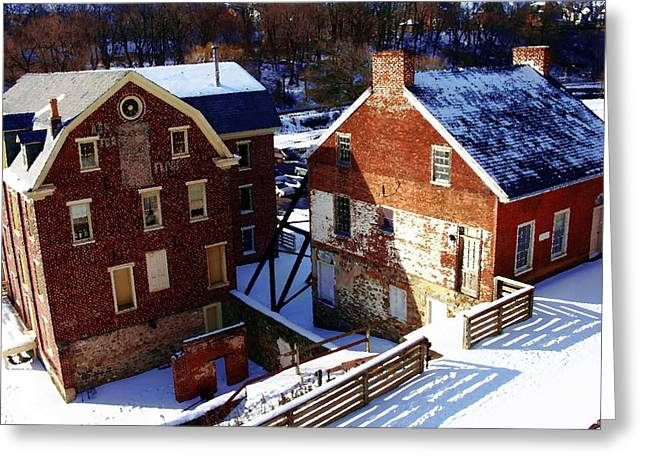 Greeting Card featuring the photograph Historic Flour Mill - Colonial Industrial Quarter - Bethlehem Pa by Jacqueline M Lewis
