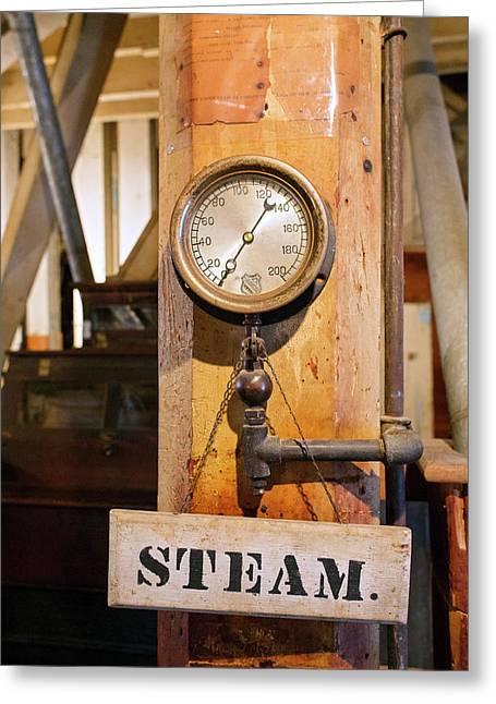Historic Flour Mill Steam Gauge Greeting Card