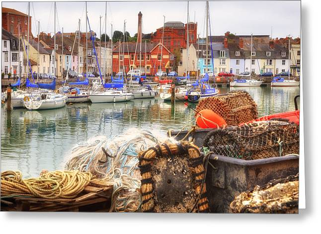 historic harbour Weymouth Greeting Card