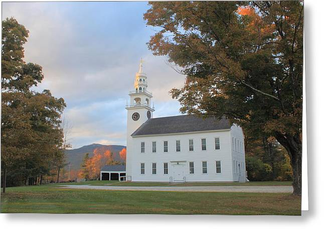 Historic Jaffrey Meetinghouse And Mount Monadnock Early Autumn Greeting Card