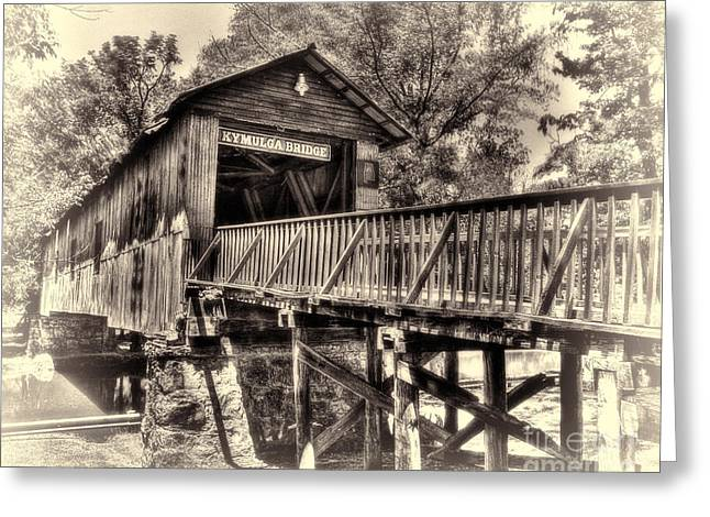 Greeting Card featuring the photograph Historic Kymulga Covered Bridge Toned by Ken Johnson