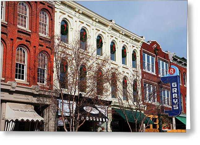 Historic Main Street With Red Brick Greeting Card