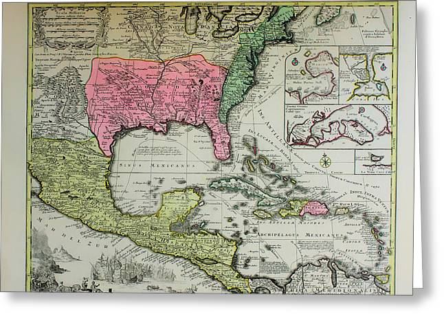 Historic Map Of Florida And Mexico 1600s Greeting Card
