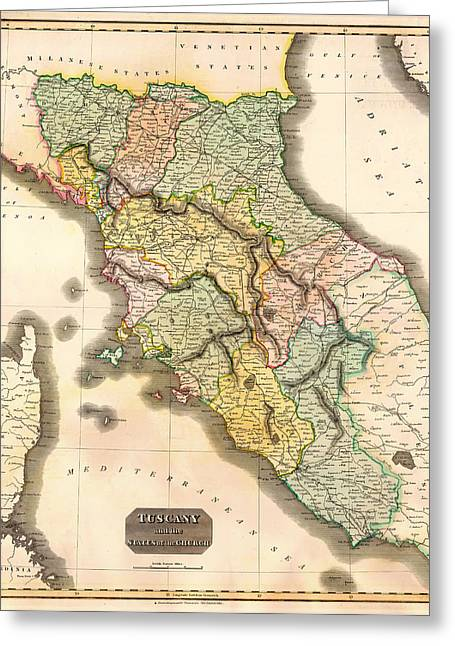 Historic Map Of Tuscany 1814 Greeting Card