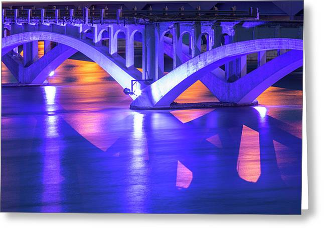 Historic Ninth Street Bridge Glows Greeting Card by Chuck Haney