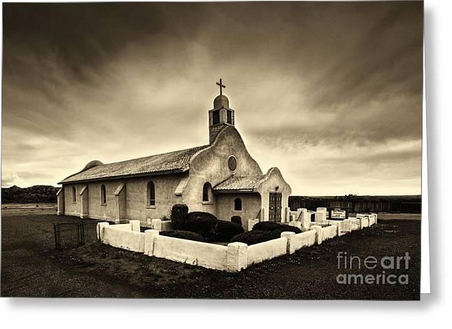 Historic Old Adobe Spanish Style Catholic Church San Ysidro New Mexico Greeting Card