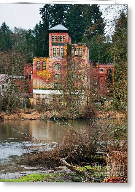 Historic Old Brewery By Creek Greeting Card