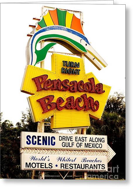 Historic Pensacola Beach Sign Greeting Card by Janice Spivey