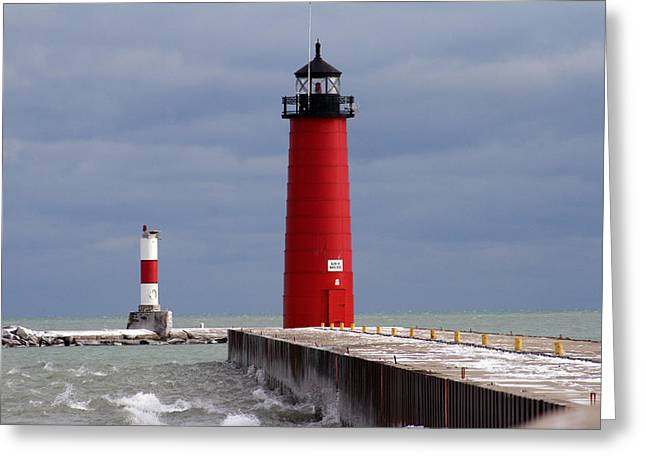 Greeting Card featuring the photograph Historic Pierhead Lighthouse by Kay Novy