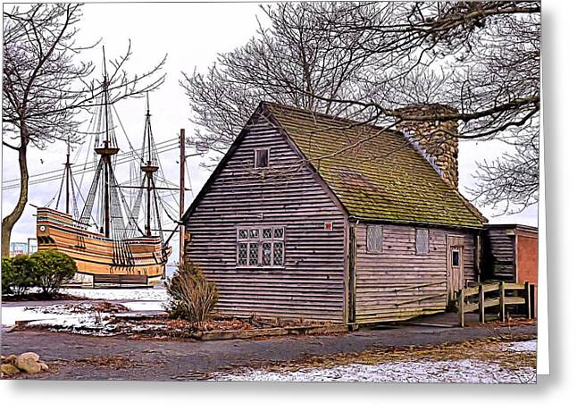 Greeting Card featuring the photograph Historic Plymouth Ma Harbor by Janice Drew