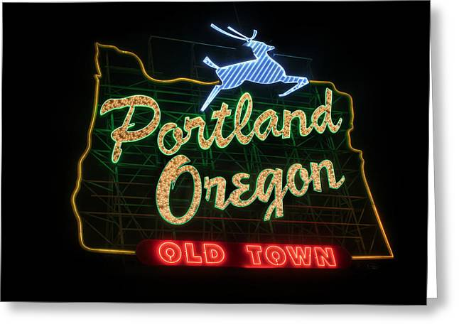 Historic Portland Oregon Old Town Sign Greeting Card
