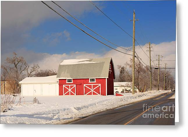 Historic Red Barn On A Snowy Winter Day Greeting Card by Louise Heusinkveld