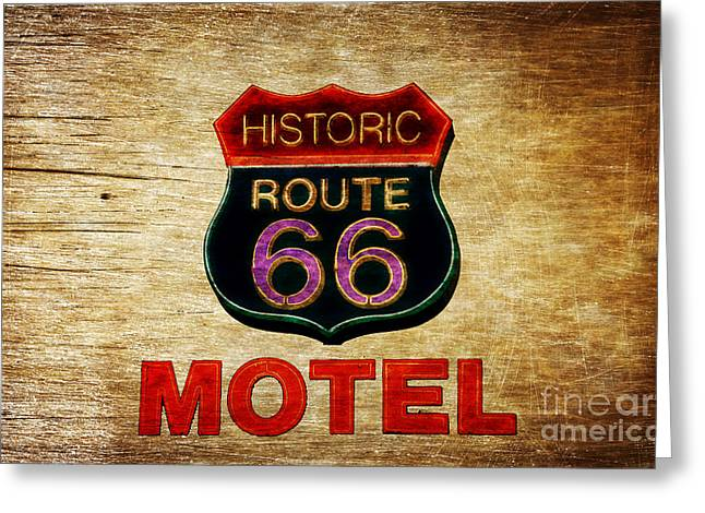 Historic Route 66 Motel Sign Kingman Greeting Card by Heinz G Mielke