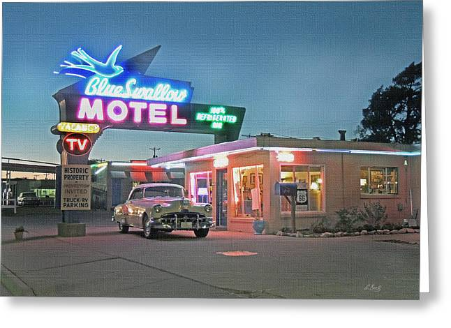 Historic Rt. 66 Blue Swallow Motel Greeting Card by Gordon Beck