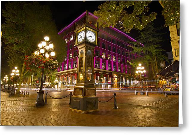 Greeting Card featuring the photograph Historic Steam Clock In Gastown Vancouver Bc by JPLDesigns