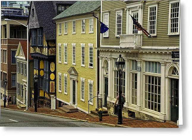 Historic Street In Providence Ri Greeting Card by Nancy De Flon