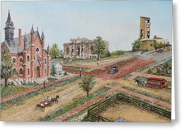 Greeting Card featuring the painting Historic Street - Lawrence Ks by Mary Ellen Anderson