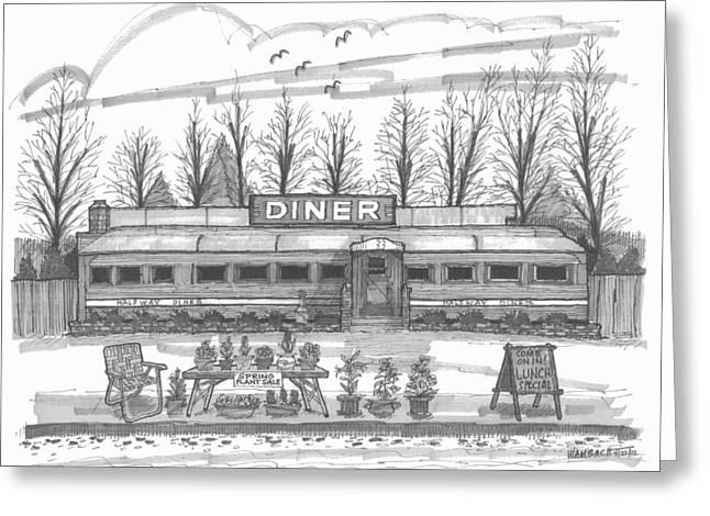 Historic Village Diner Greeting Card