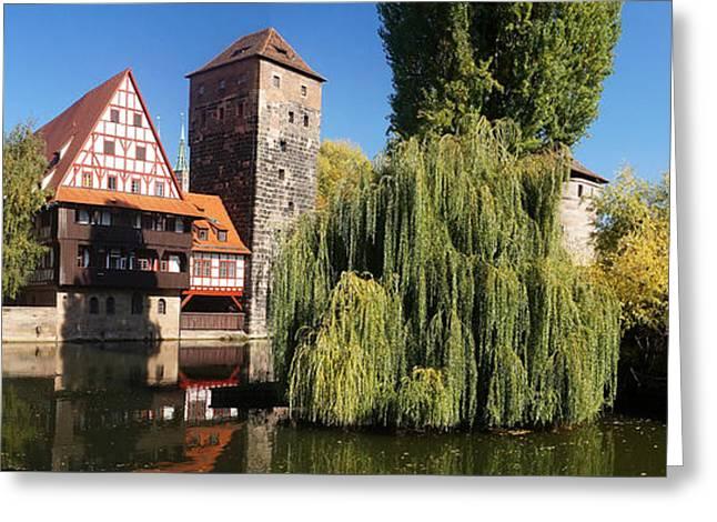 historic winestorage and executioner bridge in Nuremberg Greeting Card by Rudi Prott