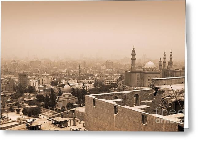 Greeting Card featuring the photograph Historical Buildings Of Cairo by Mohamed Elkhamisy