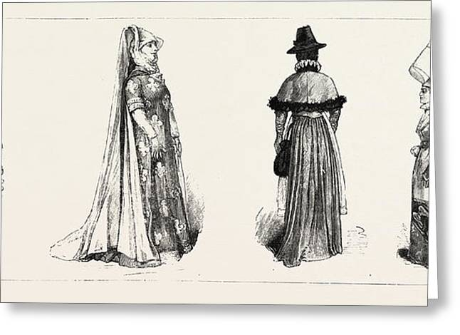 Historical Costumes At The International Exhibition, South Greeting Card by English School