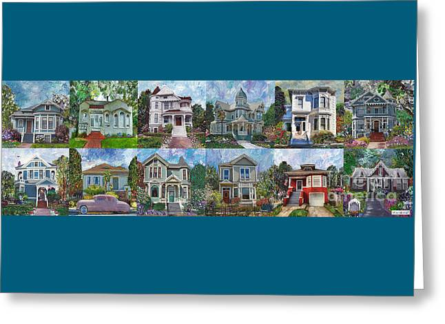 Historical Homes Greeting Card by Linda Weinstock