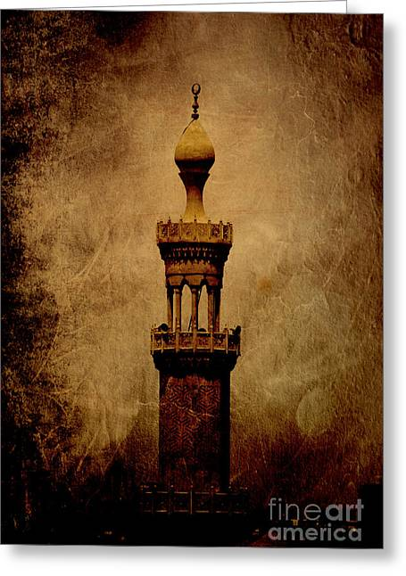 Greeting Card featuring the photograph Historical Minaret In Cairo by Mohamed Elkhamisy
