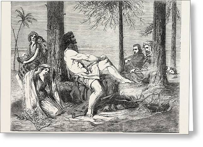 Historical Painting Delilah Asking Forgiveness Of Samson Greeting Card by William J. Burton, English School, 19th Century