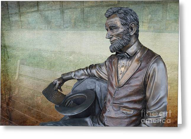 History - Abraham Lincoln Contemplates -  Luther Fine Art Greeting Card by Luther Fine Art