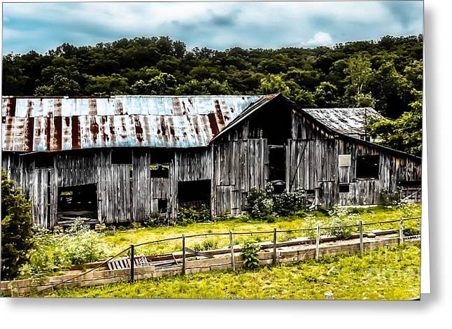 History Left Behind  Old Barn Greeting Card by Peggy Franz