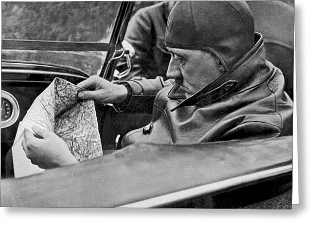 Hitler Studies Road Map Greeting Card by Underwood Archives
