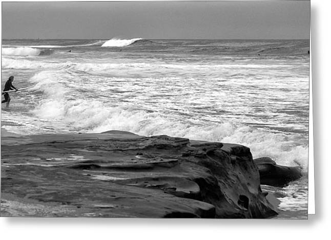 Hittin The Breakers Black And White Greeting Card