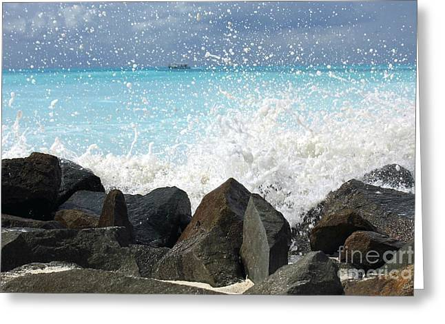 Hitting The Rocks Greeting Card by Sophie Vigneault
