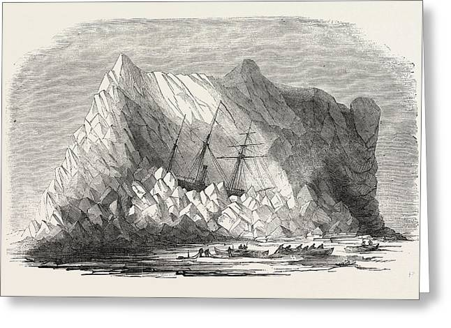 H.m. Arctic Steam Vessel Intrepid Driven Forty Feet Up An Greeting Card by English School