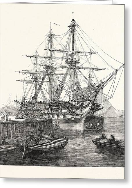 H.m. Screw Line-of-battle Ship Caesar 90 At Portsmouth Uk Greeting Card