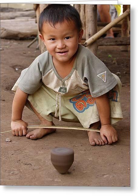 Hmong Boy Greeting Card by Adam Romanowicz