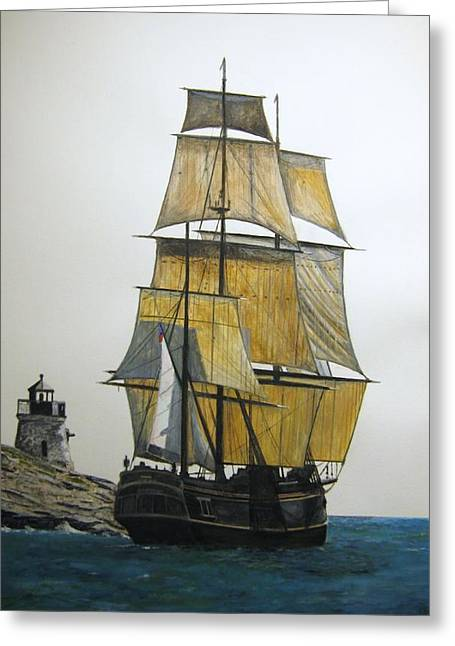 Greeting Card featuring the painting Hms Bounty by Stan Tenney